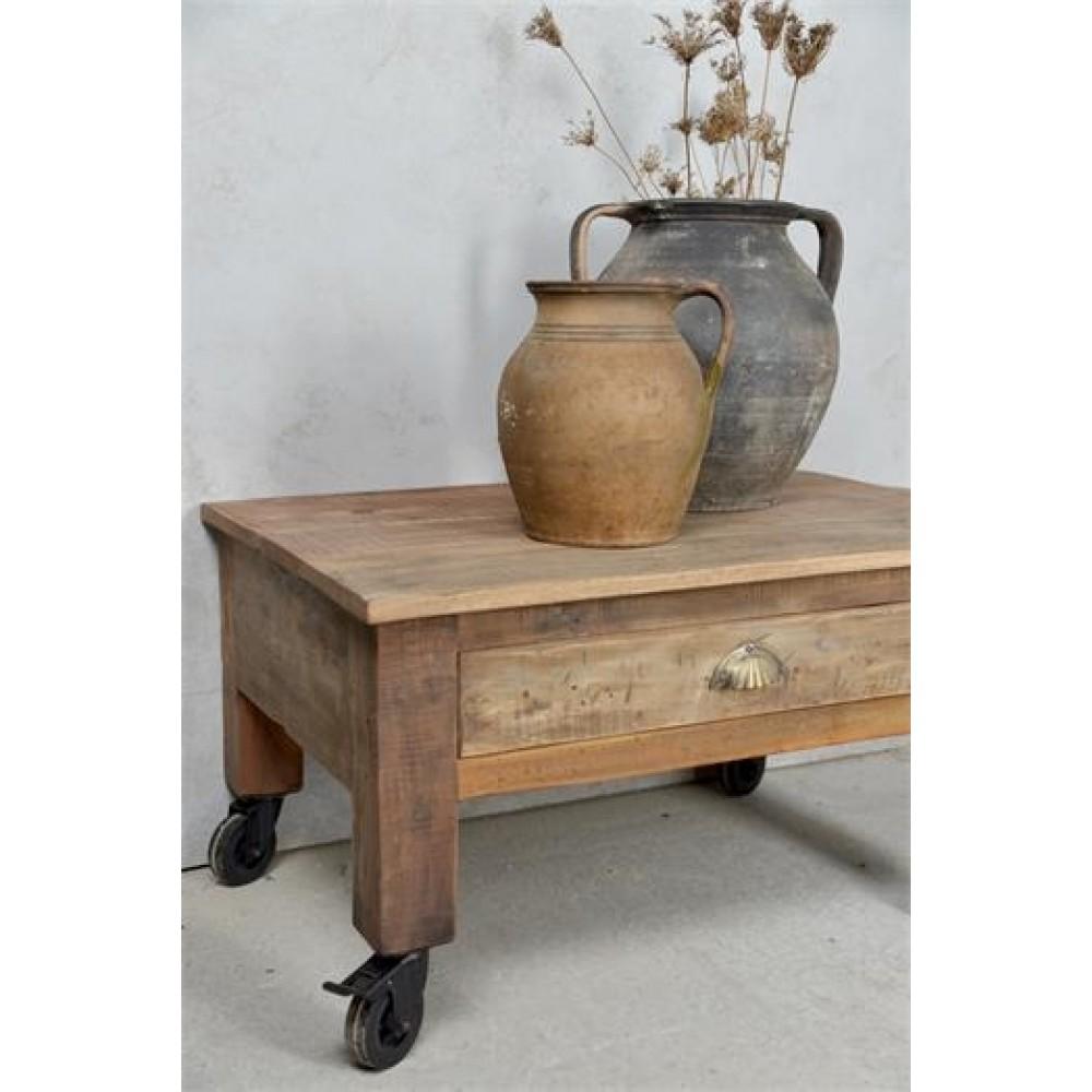 Sofabord i Genbrugstræ på Hjul med Bremse Natur-31