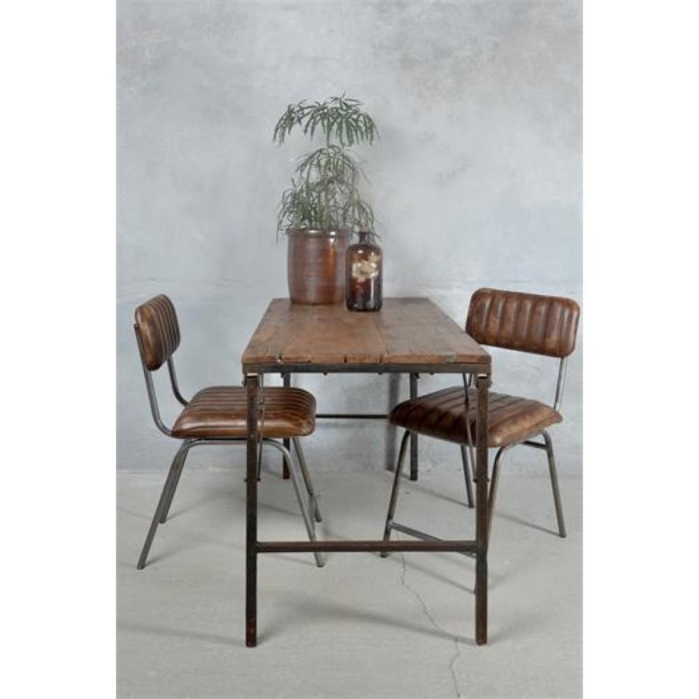 Foldbart Spisebord i Genbrugstræ og Metal Stel-33