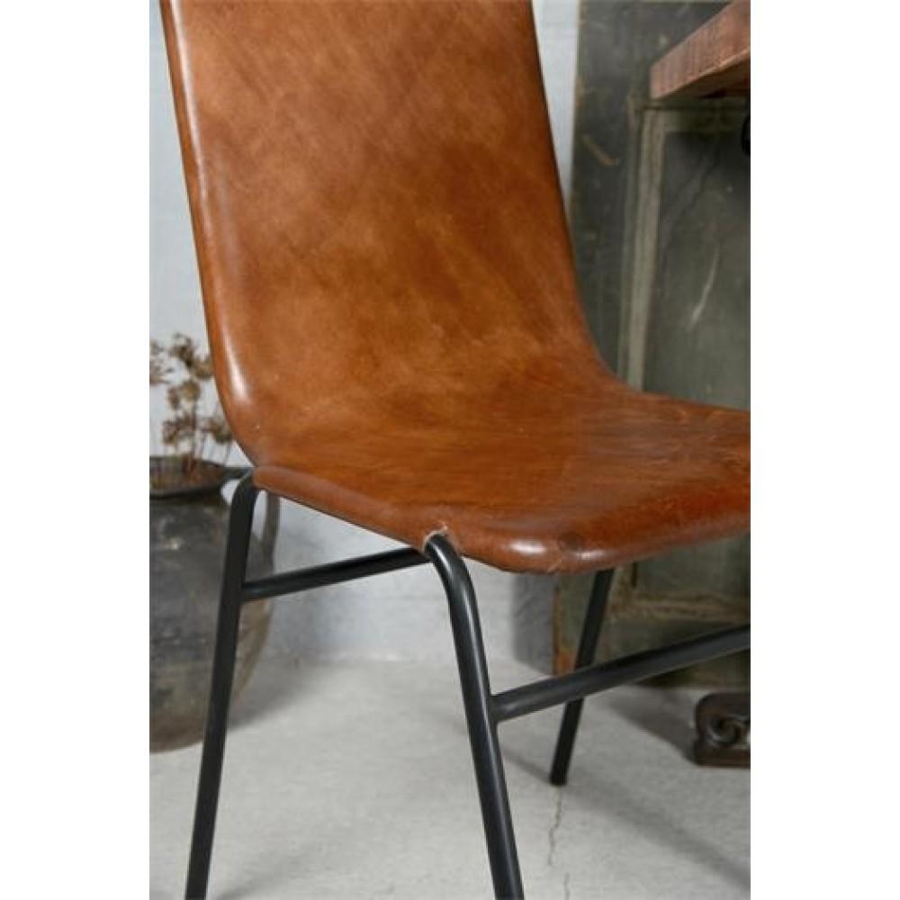 Spisebordsstol i Sortlakeret Metal og Læder-32