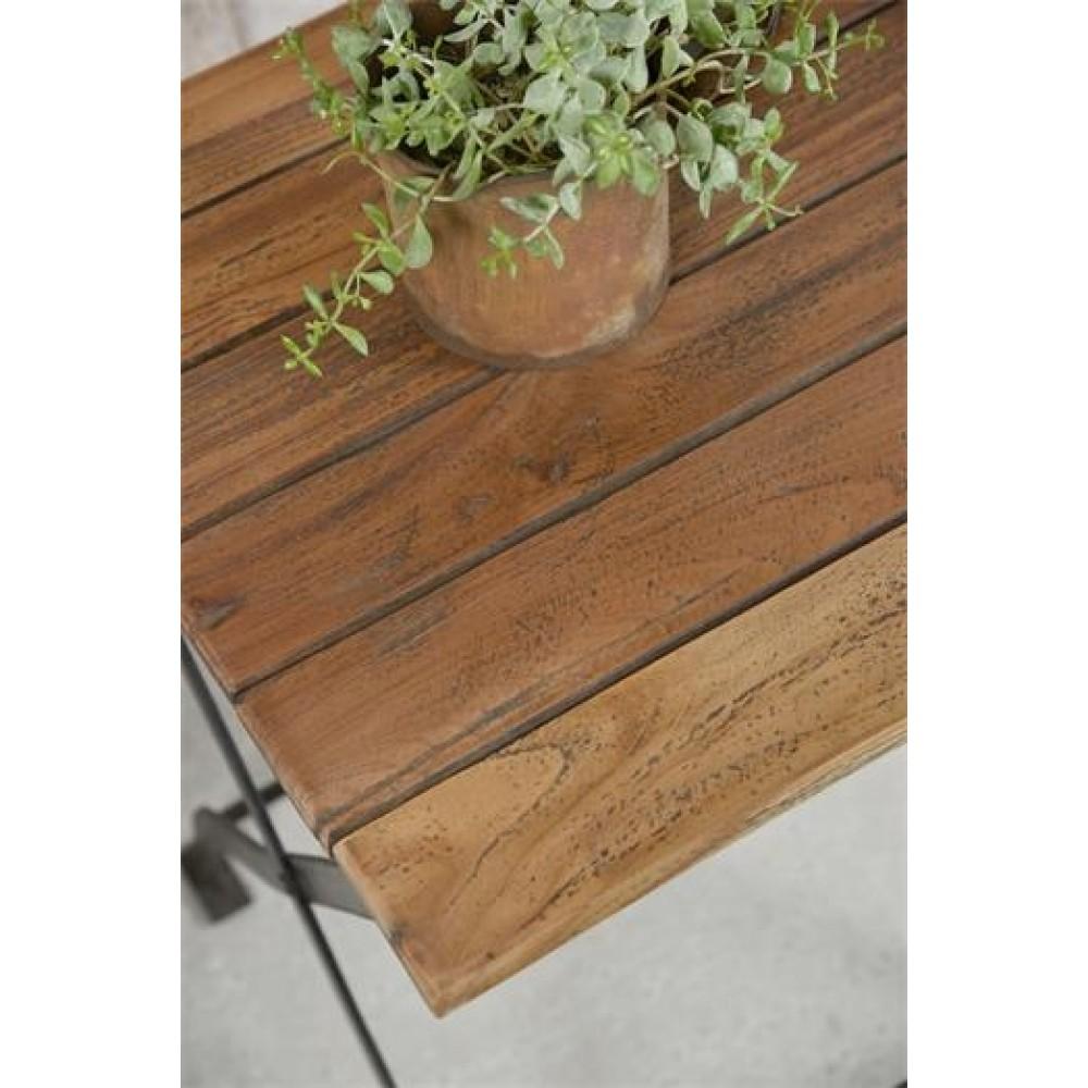Klapbord i Jern med Bordplade i Genbrugstræ-31