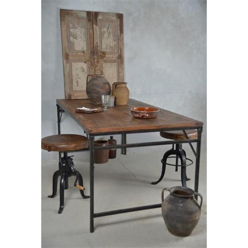 Foldbart Spisebord i Genbrugstræ og Metal Stel ekstra bred-31