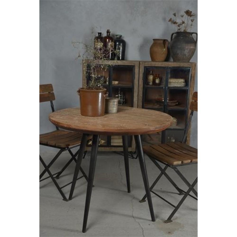 Rundt Spisebord i Jern og Genbrugstræ Ø 90cm.-31