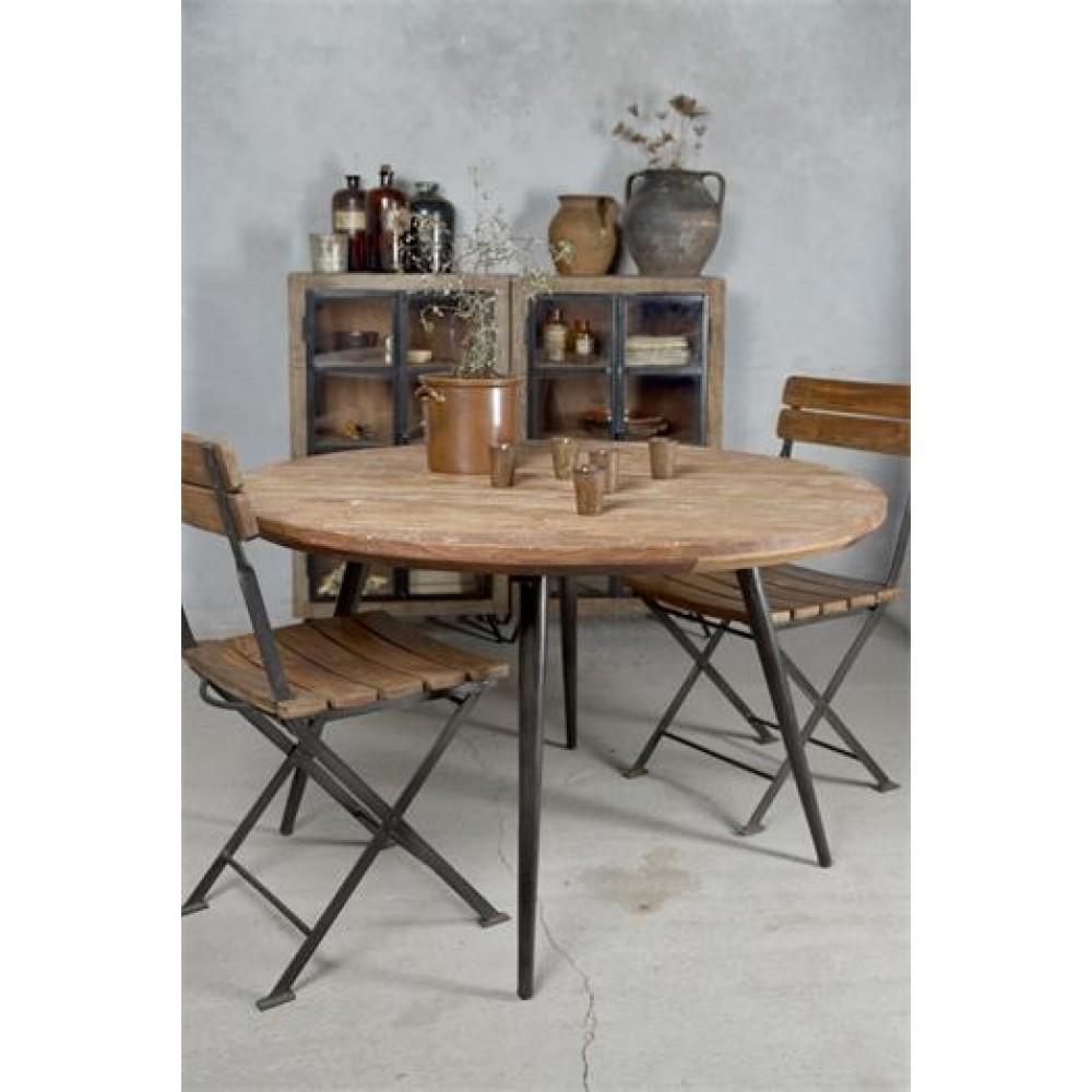 Rundt Spisebord i Jern og Genbrugstræ Ø 120cm.-31
