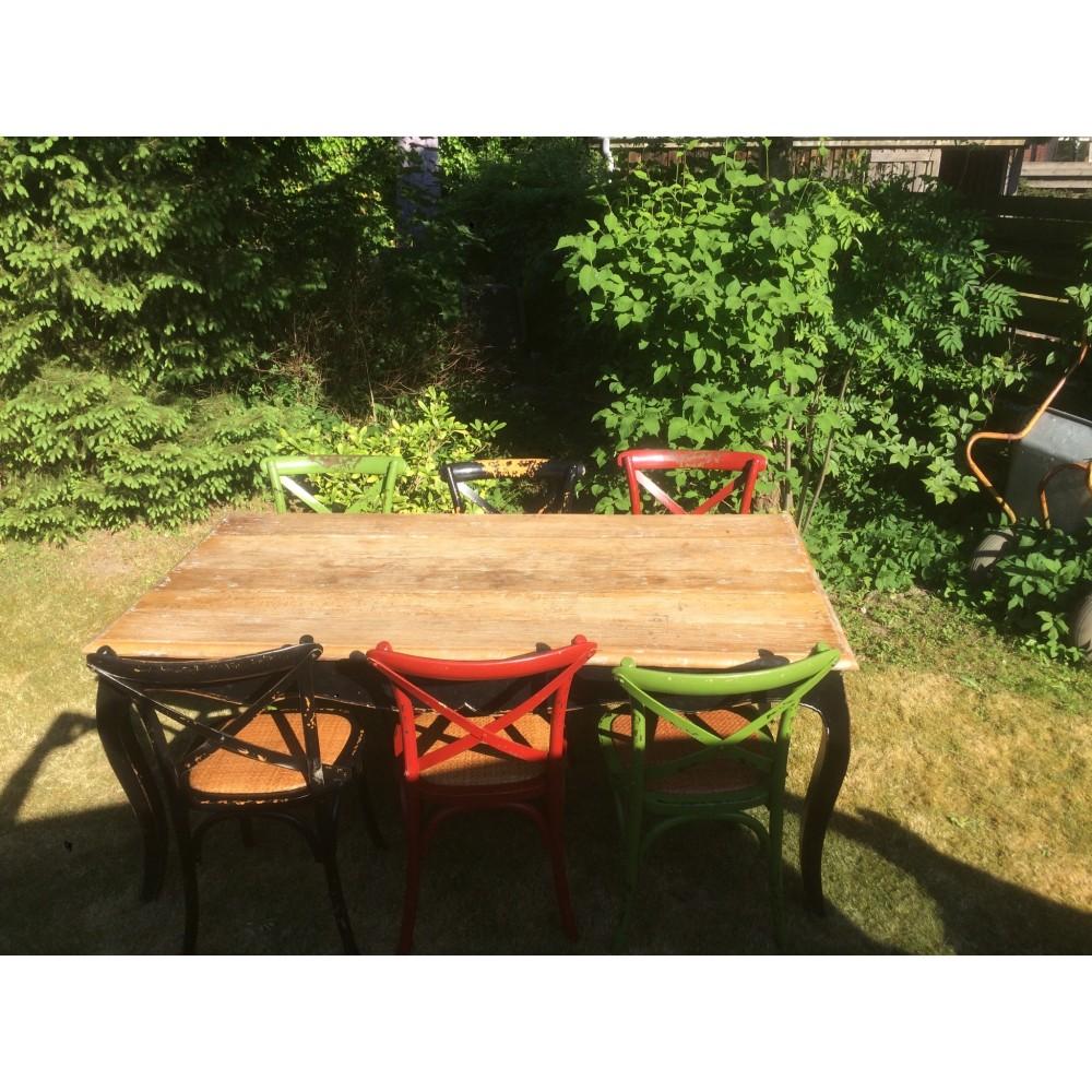 Rustikt Spisebord med Bordplade i Genbrugstræ-36