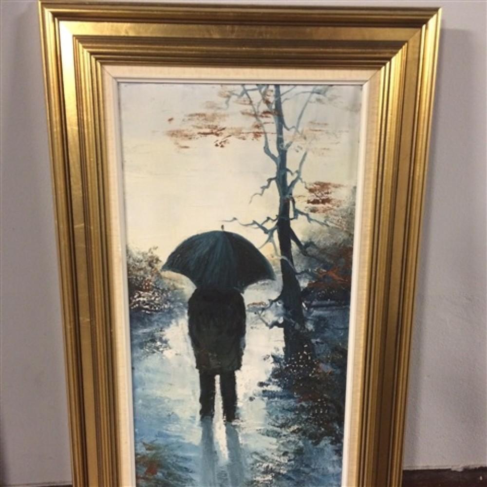 Oliemaleri dreng med paraply-31