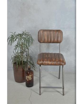 Spisebordsstol i Metal med Læderbetræk-20
