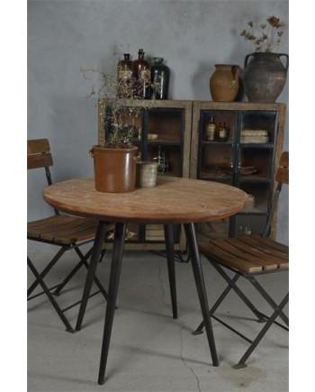 Rundt Spisebord i Jern og Genbrugstræ Ø 90cm.-20