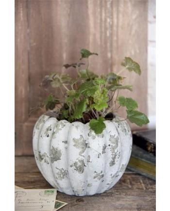 Flot Vase / Krukke Med Patina - Beige