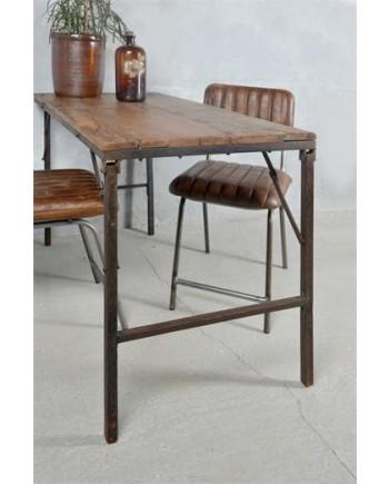 Foldbart Spisebord i Genbrugstræ og Metal Stel