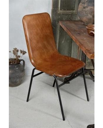 Spisebordsstol i Sortlakeret Metal og Læder