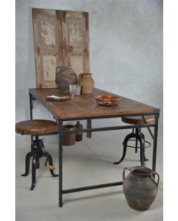 Foldbart Spisebord i Genbrugstræ og Metal Stel - ekstra bred