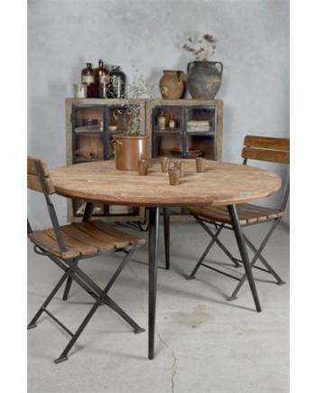 Rundt Spisebord i Jern og Genbrugstræ - Ø 120cm.