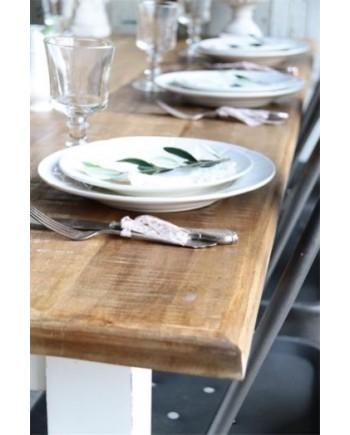 Spisebord I Natur Træ med Hvidt Stel