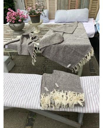 Håndklæde Brown/Cream 100x200