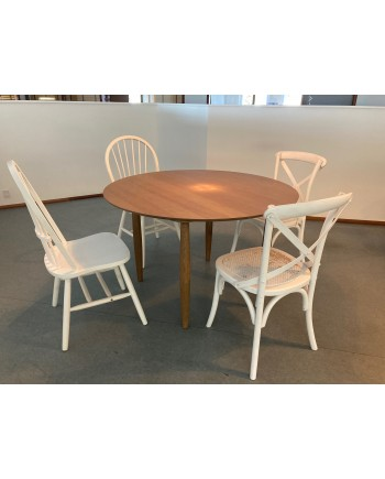Spisebordsstol i Hvid med Tremme Ryg
